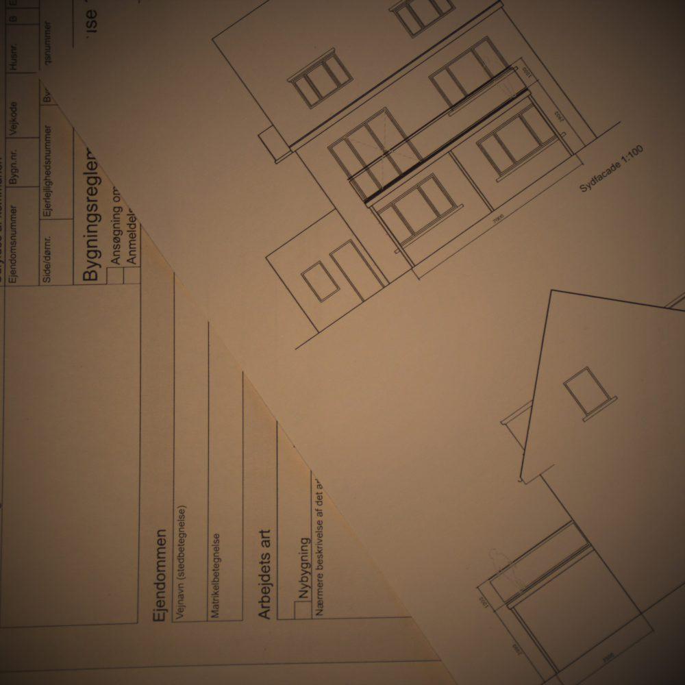 Byggeansøgning og tegninger til altan
